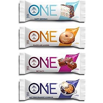 ONE Protein Bar, 4 Flavor Variety Pack, 12 Pack, Gluten-Free, High Protein, Low Sugar, Includes Birthday Cake, Maple Glazed Doughnut, Blueberry Cobbler, Salted Caramel