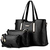 Best Women Bags - Vincico174;Women 3 Piece Tote Bag Pu Leather Weave Review