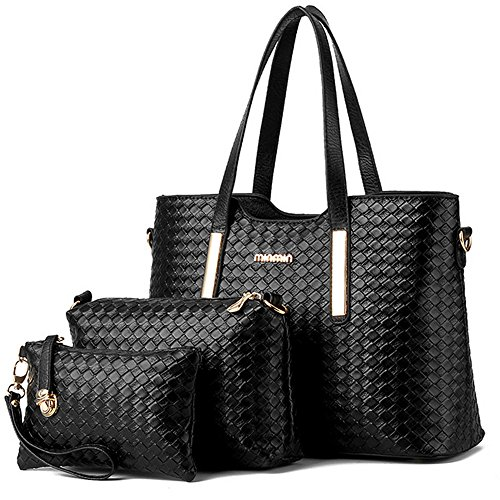 Womens 3 Piece Tote Bag Leather Handbag Purse Bags Set (Black) - 6