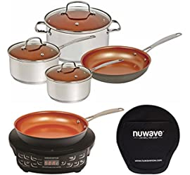 NuWave Cookware Set, Silver, 7 Piece (7 pc, Silver w/ Deluxe Cooktop)