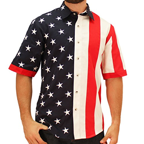 (American Summer US Flag Short Sleeve Woven Sport Shirt (Large))