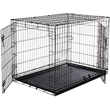 AmazonBasics Double-Door Folding Metal Dog Crate - Large (42x28x30 Inches)