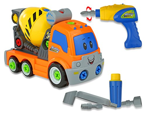 Advanced Play Construction Cement Mixer Take Apart Truck Toys for Preschool Children Equipped With Play Power Tools for kids such as Electric Drill and tools Moves and Rides On Its Own for Toddlers by Advanced Play