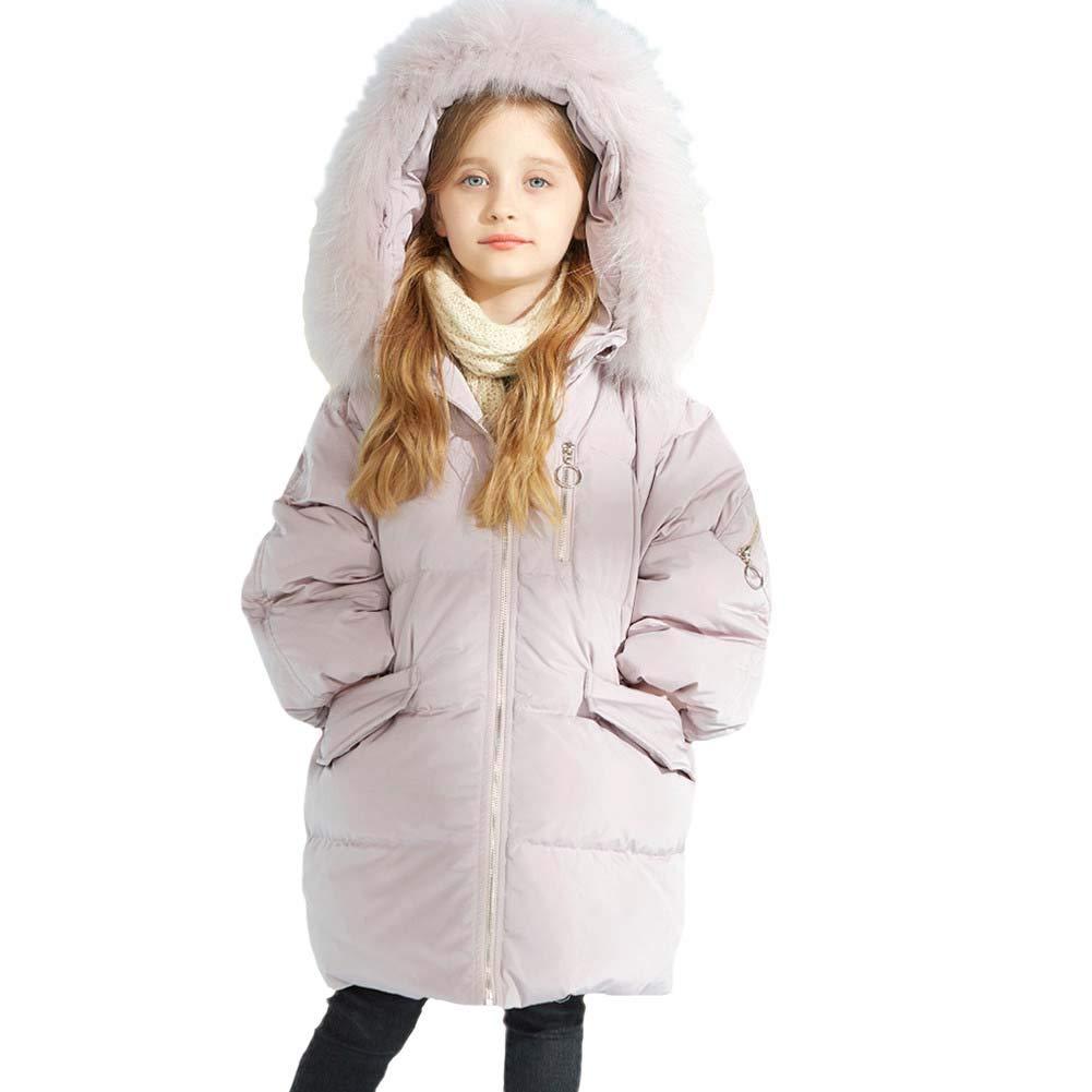 rose 150cm RATJ-Sjc Petites Filles Hiver Manteau Enfants Longue Veste épaissie Grand col de Fourrure Outwear, Manteau d'hiver pour Enfants idéal