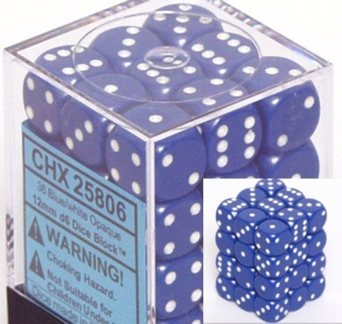 Chessex Dice D6 Sets: Opaque Blue with White - 12Mm Six Sided Die (36) Block of Dice