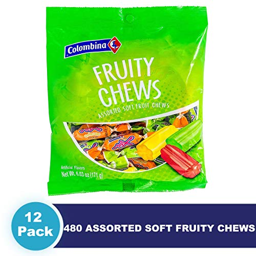 - Colombina Fruity Chews, 6.3 oz (Pack of 12) Assorted Soft Fruit Chews, 12 individual bags with 40 candies, Total 480 candies assortment of Orange, Grape, Strawberry, Pineapple, & Green Apple.