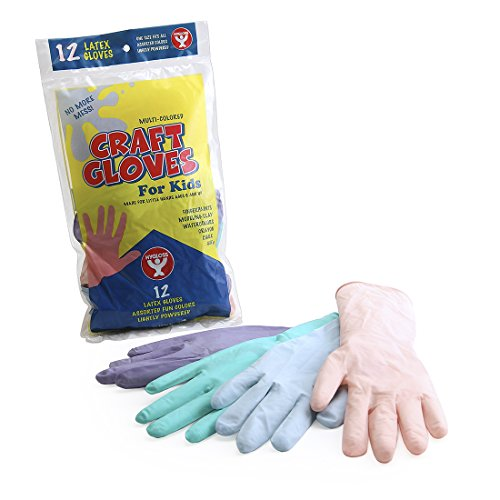 Hygloss Products, Inc. Latex Gloves for Kids - Lightly Powdered Assorted Colors - 12 Pack (97112)