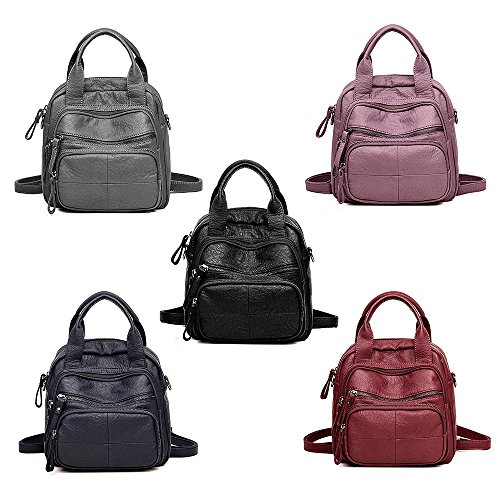 Women Girls Backpack Schoolbags Backpack YIMOJI Women Bag Travel Small Purple Shoulder Daypack for PU Casual Handbag Fashion Leather dqx5aH