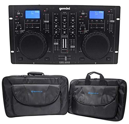Gemini CDM-4000 2 Ch. Dual DJ Mixer Media Player System+MP3/CD/USB+Carry - Dual Cd Pro Player Dj