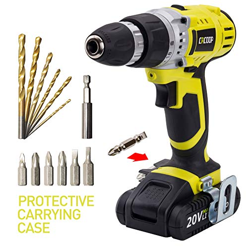 CACOOP CCD20001LBB 20V MAX 1.5 Ah Lithium-Ion Cordless Drill Driver Set, With 1 20V Battery pack, 1 Rapid charger, 6 HSS wood drill bits, 6 Screwdriver bits, 1 Magnetic bit holder and 1 Belt hook