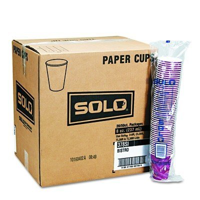 SOLO Cup Company Products - SOLO Cup Company - Bistro Design Hot Drink Cups, Paper, 12 oz., Maroon, 20 Bags of 50/Carton - Sold As 1 Carton - High-performance single-poly cup. - Upscale, coffee-themed appearance. - Ideal for food services. ()