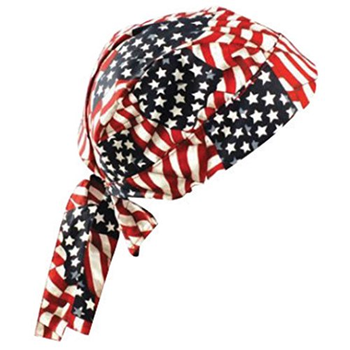 OccuNomix One Size Fits All Wavy Flag Tuff Nougies Regular Tie Hat (Doo Rag)