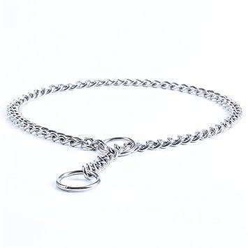 Collar de Acero Inoxidable con Cadena de Metal para adiestramiento de Perros, Mascotas, Collares para Caminar y Entrenar a Perros pequeños, medianos y ...