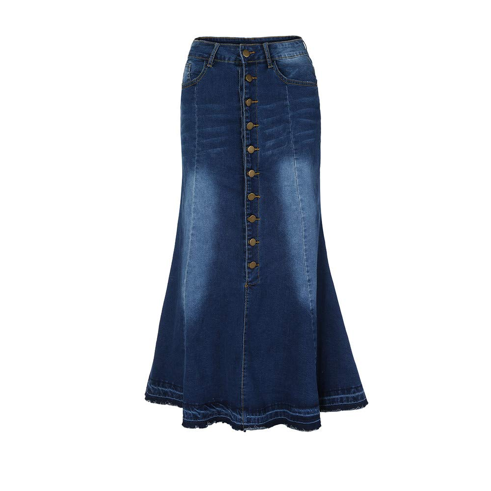 2019 Denim Mermaid Skirts Women Casual Stretch High Waist Washed Front Button Long Jeans Pencil Fishtail Skirt