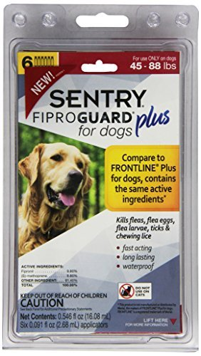 SENTRY Fiproguard Plus Flea and Tick Topical for Dogs, 45-88 lbs, 6 Month Supply
