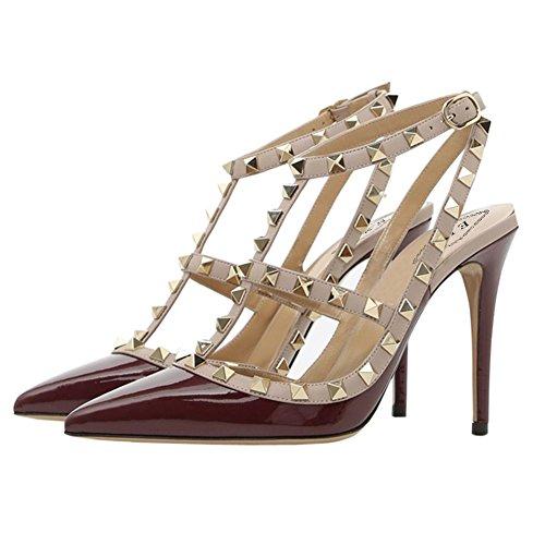 Eks Vrouwen Klinknagels Wees Teen Bandjes Hoge Hak Kleding Party Pumps Sandals Patent Bordeaux