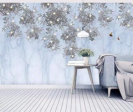 Foglie Carta Da Parati Moderna Camera Da Letto.Muro Architettonico Murale Muro 3d Foglie Semplice Pergamena