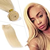 Bleached Blonde Brazilian Remy Human Hair Weave Double Weft 100% 7A Silky Straight One Bundle 100g Thick Soft Hair Extensions for Women(24 inch,#613)
