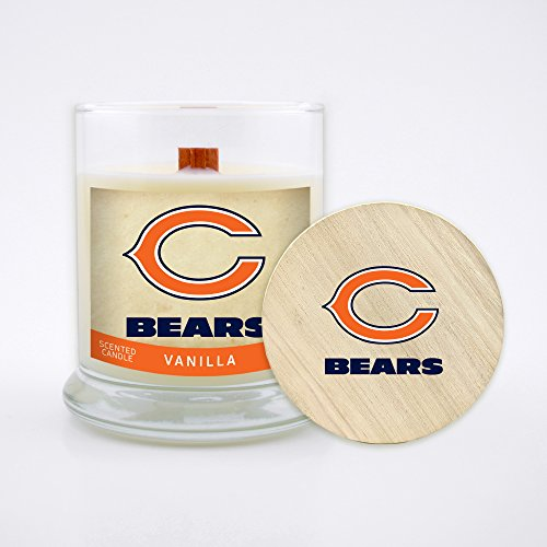 Worthy Promo NFL Chicago Bears Vanilla Scented Soy Wax Candle, Wood Wick and Lid, 8 oz