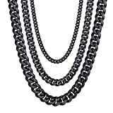 Black Cuban Chain Chunky Big Necklace Gothic,Goth,Statement Necklaces,Cool,Men Women Jewelry Gift