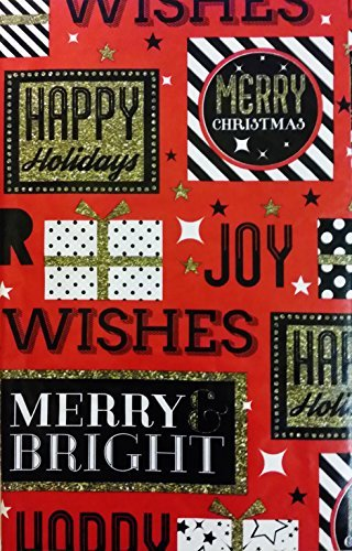Christmas Gifts and SentiHommests on rouge Vinyl Flannel Back Tablecloth (52 x 70 Oblong) by Happy Holiday (Elrene)