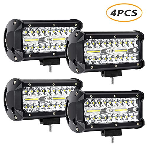4 x 240W 7inch LED Light Bar, YEEGO 2400lm LED Spot Flood Combo Beam Off Road Light Waterproof Work Lights for UTV ATV SUV Jeep Truck Tractor Pickup Boat 2 Years Warranty (4Pack-240W Combo Light) (Tractor Light Bar)