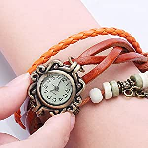 Liroyal BeautyLife Weave Wrap Around Leather Bracelet Lady Woman Wrist Watch Orange Leaf