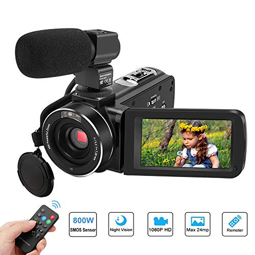 Video Camera Camcorder, Aitechny Camera Camcorder Full HD 1080P Digital Camcorder 24MP 3.0 Inch LCD Touch Screen IR Night Vision Camcorders YouTube Vlogging Camera with Microphone and Remote Control