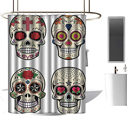 coolteey Shower Curtains Tattoo Day of The Dead Decor,Collage of Skulls with Gem and Floral Details for Celebration Theme,Multicolor,W36 x L72,Shower Curtain for Women