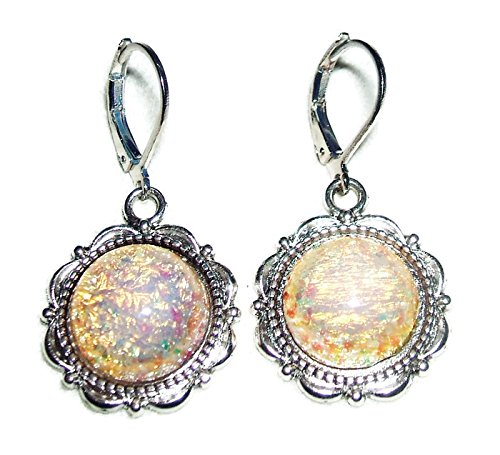 Handcrafted Brilliant Opal Earrings (FIRE OPAL EARRINGS Czech Glass Opalized Cabochon Stones SILVER Pltd Leverback Dangle Drops)