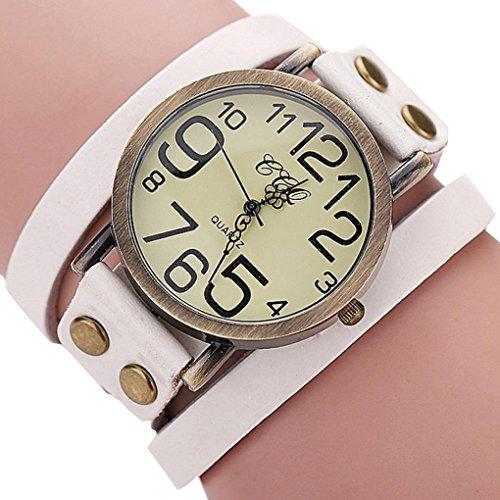 (Hunputa Luxury Brand Vintage Cow Leather Bracelet Watch Men Women Wristwatch Ladies Dress Quartz Watch (White))