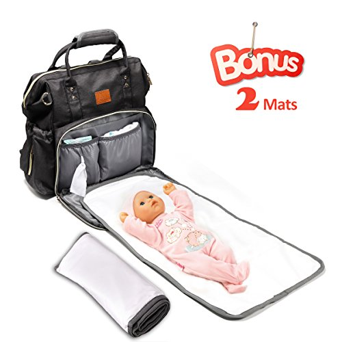 Diaper Bag backpack with 2 Changing Pads, Apicallife Unisex