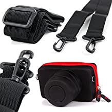DURAGADGET Exclusive Nikon SLR / Bridge Camera Case - Stylish Black & Red Shock Absorbent Protective Shell Case with Elastic Belt Loop for NEW Nikon 1 J1, Nikon 1J1, Nikon 1J2, Nikon 1J 2 & Nikon 1 J5 + BONUS Premium Quality Non-Slip Camera Neck Strap