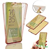Sony Xperia Z5 Premium / Plus Case,Vandot Premium Soft TPU Case Slim Fit Crystal Clear Transparent Back Cover 360 Degree Full Body Front and Back Non-slip Shock Absorbent Protective Skin- Rose Gold