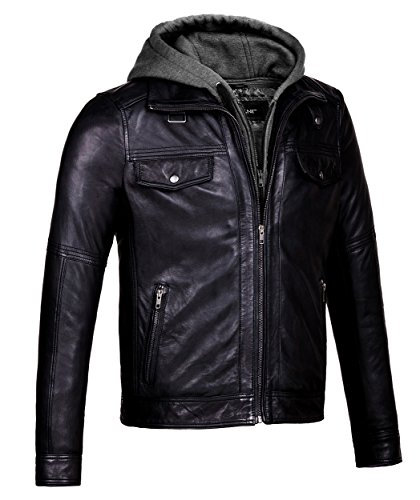 Mens Leather Bomber Jacket Removable