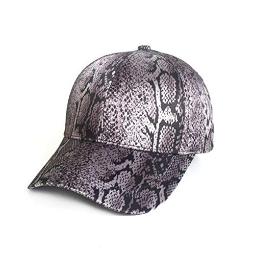 (HOT Summer Men Women Unisex Leopard Vaulted Hat Peaked Baseball Cap Hip Hop Hat (Grey Snakeskin Print, Head Circumference 56-60CM Adjustable))