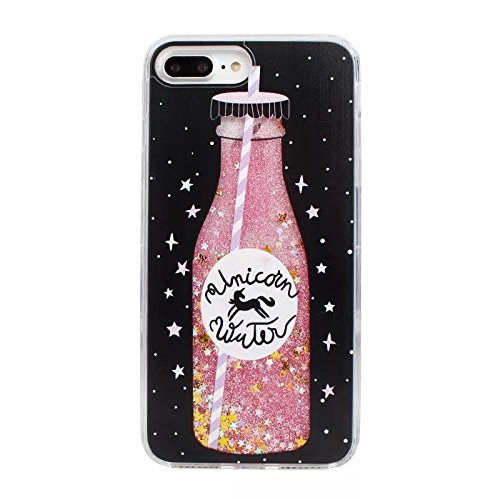 Liquid case for iPhone 6/6 plus / iPhone 7/7 plus Print Flowing Liquid Floating Luxury Bling Glitter Sparkle Stars Transparent Plastic Case (Frappuccino bottle, iPhone 6/6s plus (5.5 - Glitter Transparent