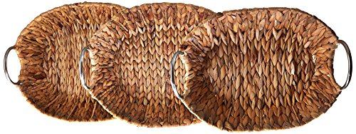 Honey-Can-Do STO-04467 Oval Natural Bannana Leaf Baskets, 3-Pack