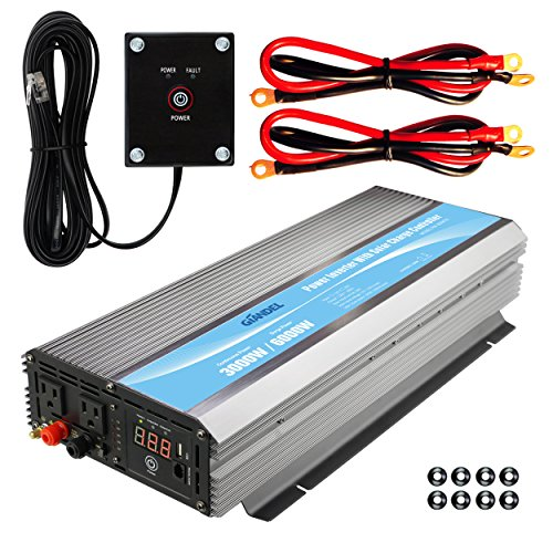 Giandel 3000W Heavy Duty Power Inverter 12V DC to 110V 120V AC 20A Solar Charge Controller Remote Control Dual AC Outlets & USB Port for RV Truck Solar System