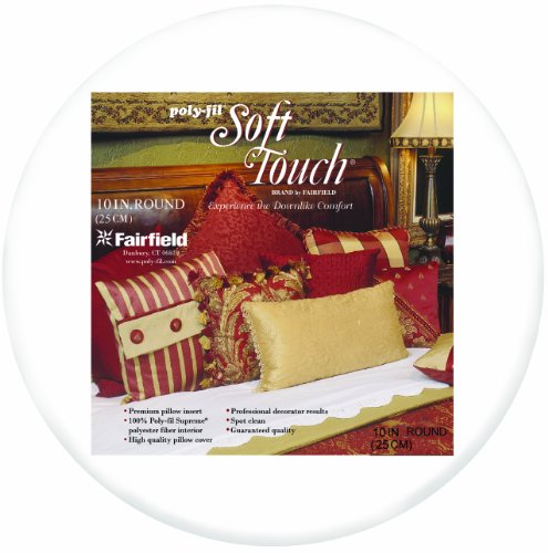 Fairfield Poly-Fil Soft Touch Pillow, 10-Inch Round, White, 1 Pillow
