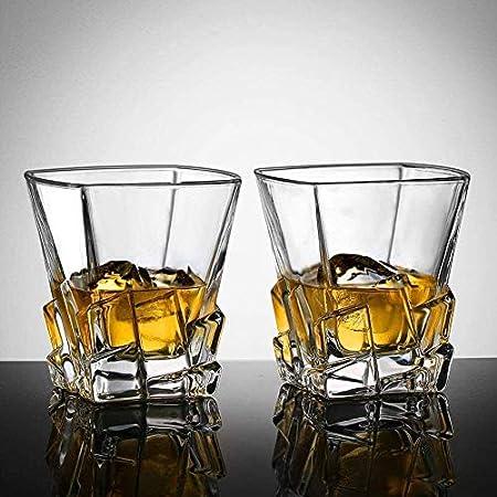 Sencillez 300ml Whisky Whisky Scotch Glass 4-PC Vidrio De Vino Sin Plomo Vaso De Cristal para El Cóctel Borbón MUMUJIN (Color : Default)