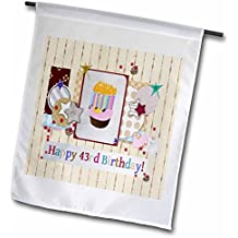 Beverly Turner Birthday Design - Collage of Stars, Cupcake, and Candle, Happy 43rd Birthday - 12 x 18 inch Garden Flag (fl_243675_1)