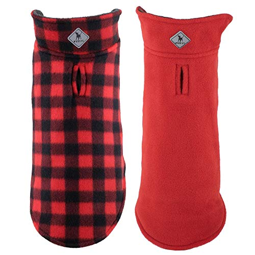 The Worthy Dog Fargo Plaid Wind Resistant Reversible Fleece Jacket,Red,18″ For Sale