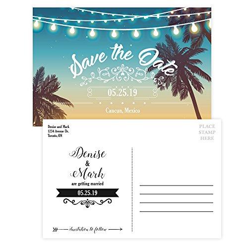 Custom - Beach Wedding Save The Date Invitation Postcard - Set of 25, Personalized Wedding Invitation