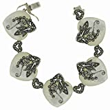 Stering Silver Marcasite Bracelet Heart shape Mother of Pearl marcasite flower over the top