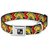 Tacos with Mustache on Bright Chevron Fun Animal Seatbelt Pet Collar
