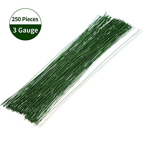 Floral Wire Stem Wire Dark Green Floral Paper Wrapped Wire for Flower Bouquets and DIY Crafts, 50 Pieces 18 Gauge, 100 Pieces 22 Gauge, 100 Pieces 26 -