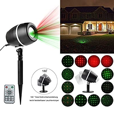 Christmas Laser Light, Indoor Outdoor Waterproof Landscape Decoration Fairy Projector Lighting Red and Green Star Laser Lights Shower For Xmas,Halloween,Holiday