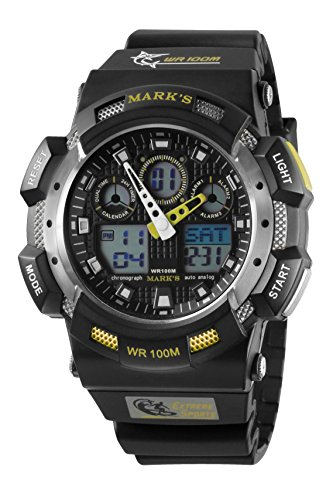 Dial Black Digital Analog Mens (Mark's Men's Analog-Digital Black Dial Polyurethane Chronograph Multifunction Diving Watch (Yellow Bazel))