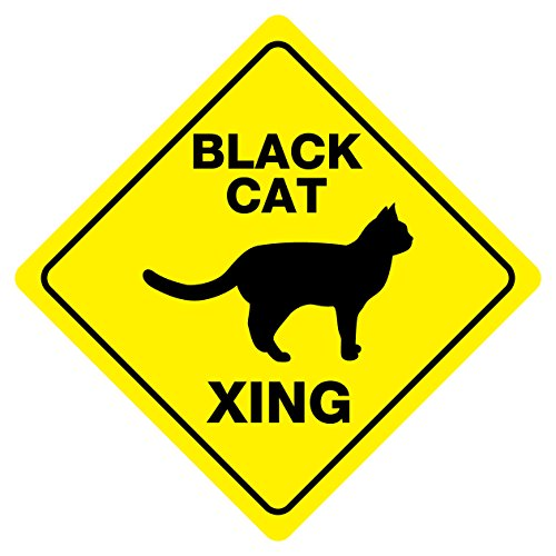 BLACK CAT CROSSING Funny Novelty Sign for cheap